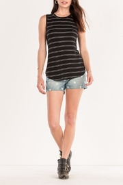 Miss Me Black Striped Tank - Back cropped