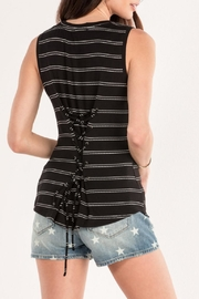 Miss Me Black Striped Tank - Side cropped