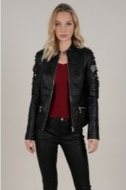 Molly Bracken Black Studded Leather Jacket - Product Mini Image