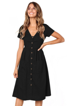 The Emerald Fox Boutique Black Stylish Button Front Midi Dress with Pockets - Product List Image