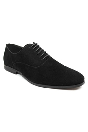 AZM Black Suede Round Toe Dress Shoes - Front cropped
