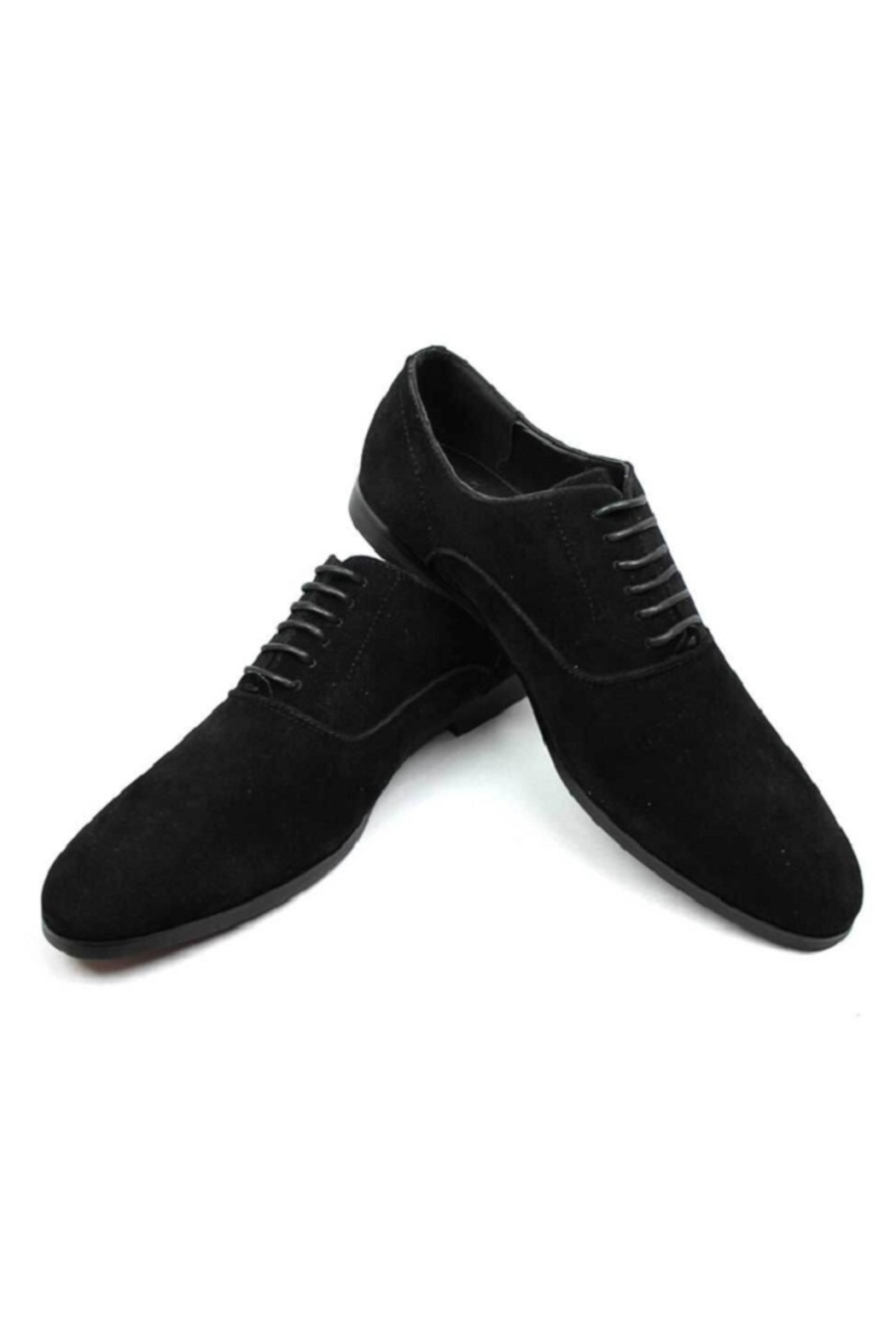 AZM Black Suede Round Toe Dress Shoes - Front Full Image