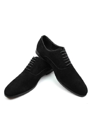 AZM Black Suede Round Toe Dress Shoes - Front full body
