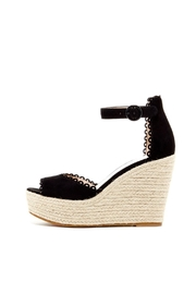 Pelle Moda Black Suede Wedge - Front cropped