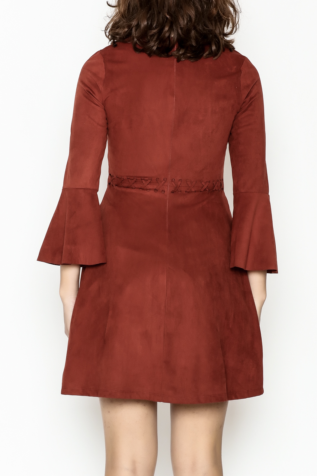 Black Swan Faux Suede Rust Dress - Back Cropped Image
