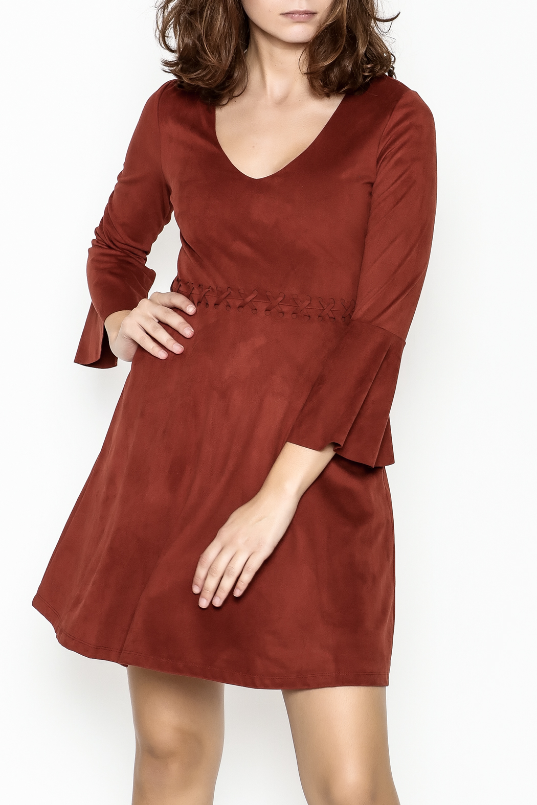Black Swan Faux Suede Rust Dress - Main Image