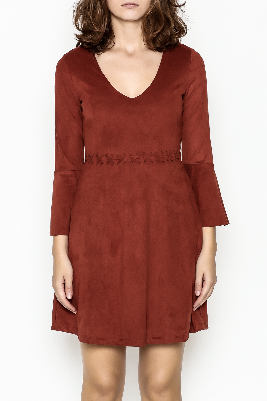 Black Swan Faux Suede Rust Dress - Front Full Image