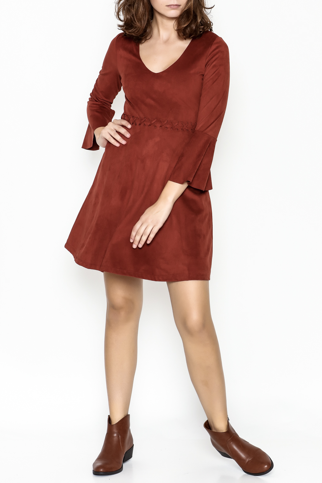 Black Swan Faux Suede Rust Dress - Side Cropped Image