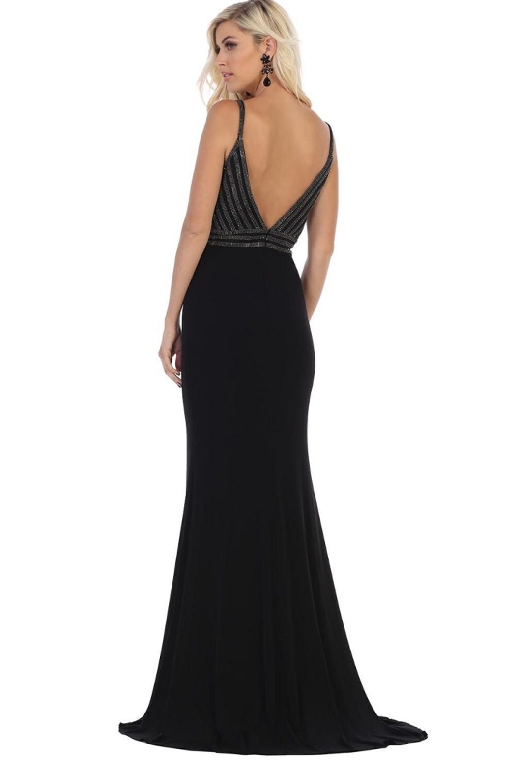 May Queen  Black Sweetheart Beaded Formal Long Dress - Front Full Image