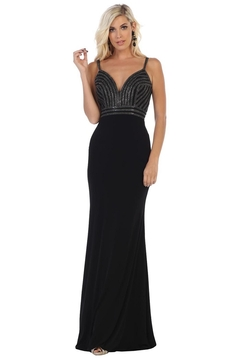 May Queen  Black Sweetheart Beaded Formal Long Dress - Product List Image