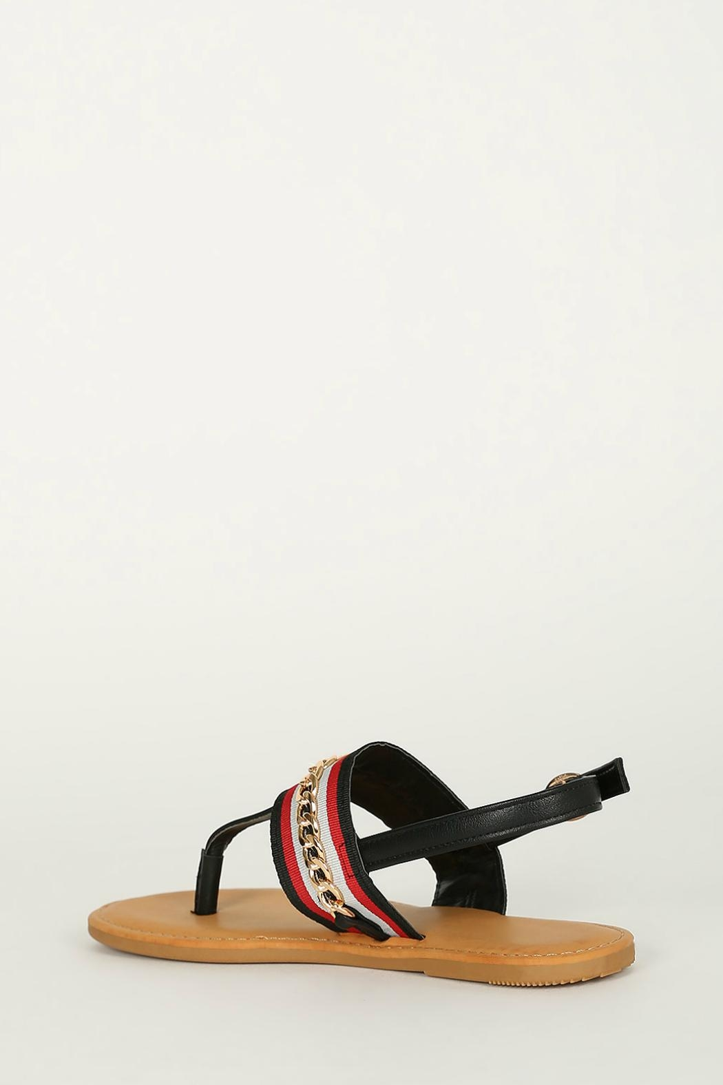 Bamboo Black T-Strap Sandals - Side Cropped Image