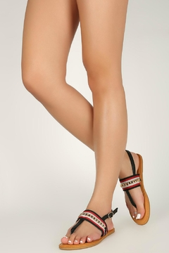 Bamboo Black T-Strap Sandals - Product List Image