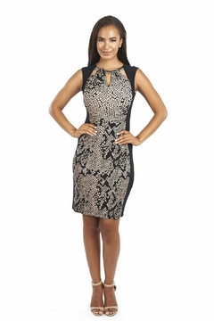 Shoptiques Product: Black/Tan/Gold Snake Print Cocktail Dress
