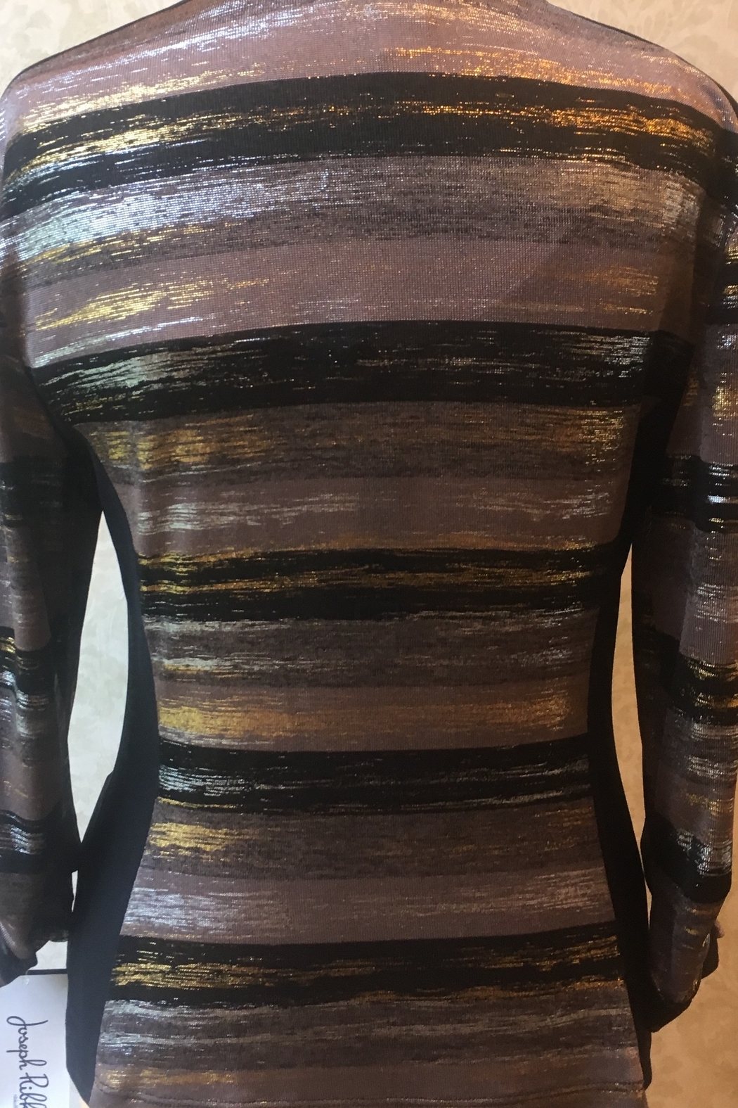 Joseph Ribkoff  Black/tan striped top with gold/silver metallic threading - Front Full Image