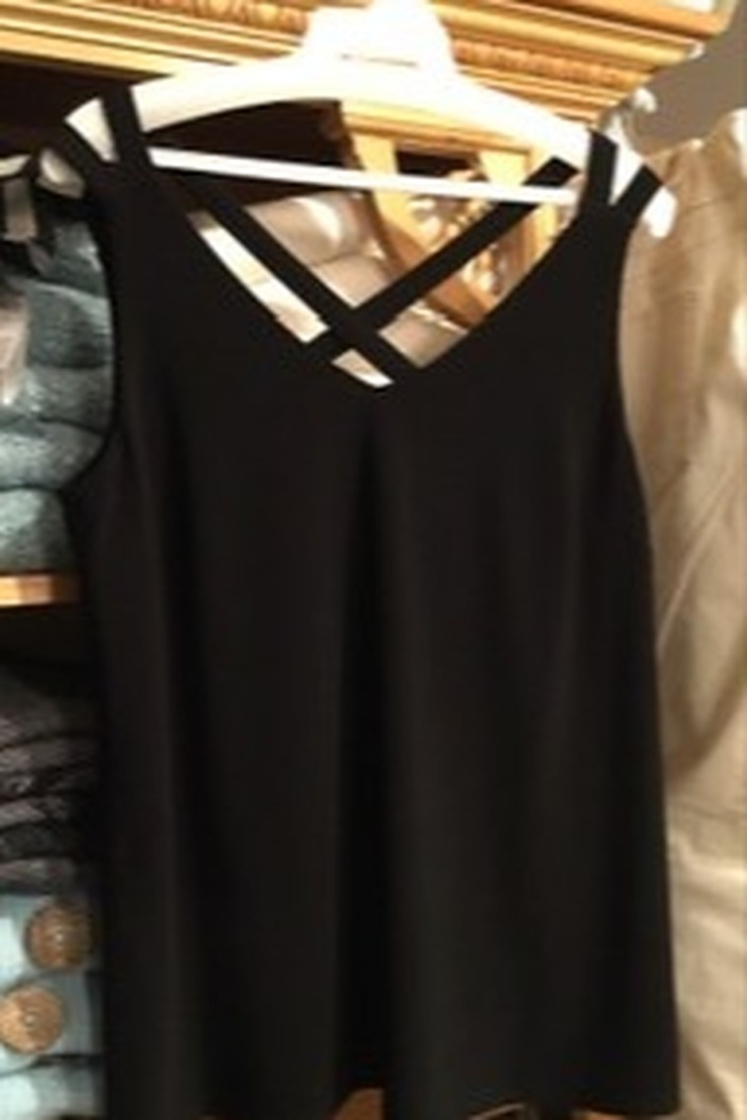 Frank Lyman Black tank, criss-cross  back straps - Main Image