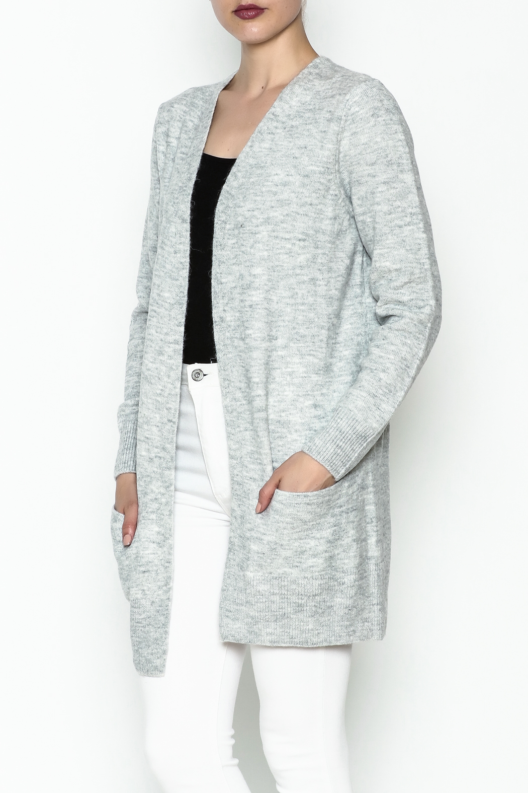 Black Tape/Dex Marled Cardigan - Front Cropped Image
