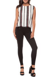 Black Tape Fringe Hem Woven Top - Product Mini Image