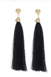 US Jewelry House Black Tassel Earring - Product Mini Image