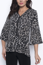 Frank Lyman Black/Taupe Knit Tunic - Front cropped
