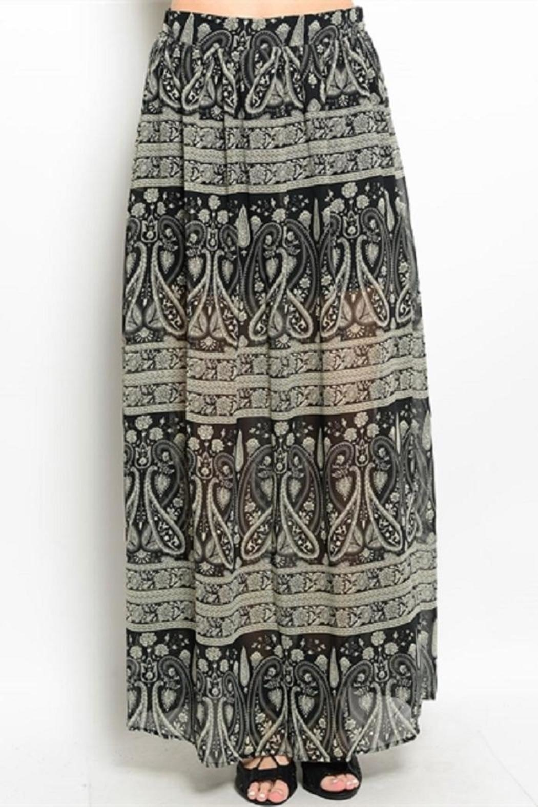 WFS Black & Taupe Patterned Maxi Skirt - Front Cropped Image