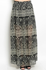 WFS Black & Taupe Patterned Maxi Skirt - Front cropped