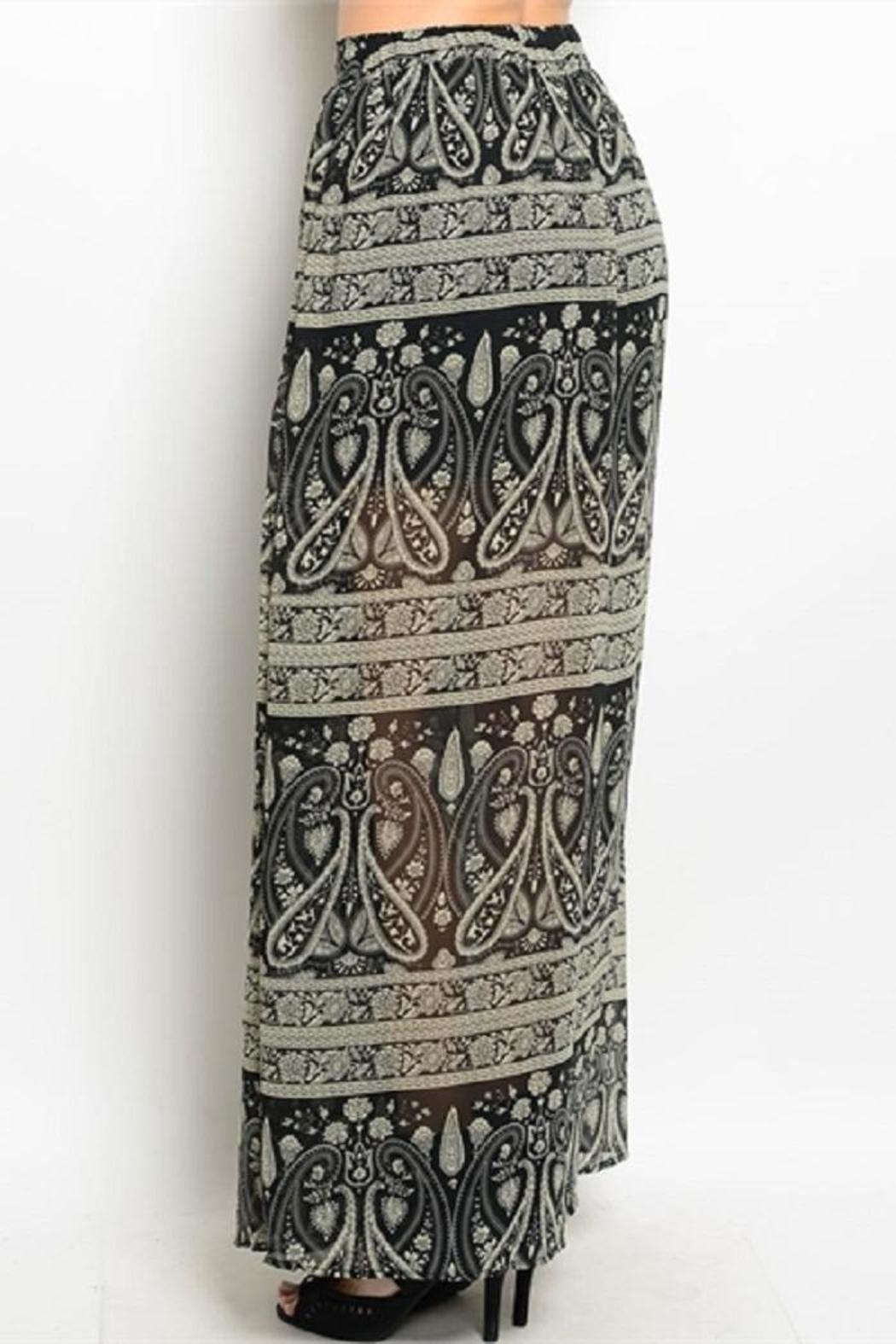 WFS Black & Taupe Patterned Maxi Skirt - Front Full Image