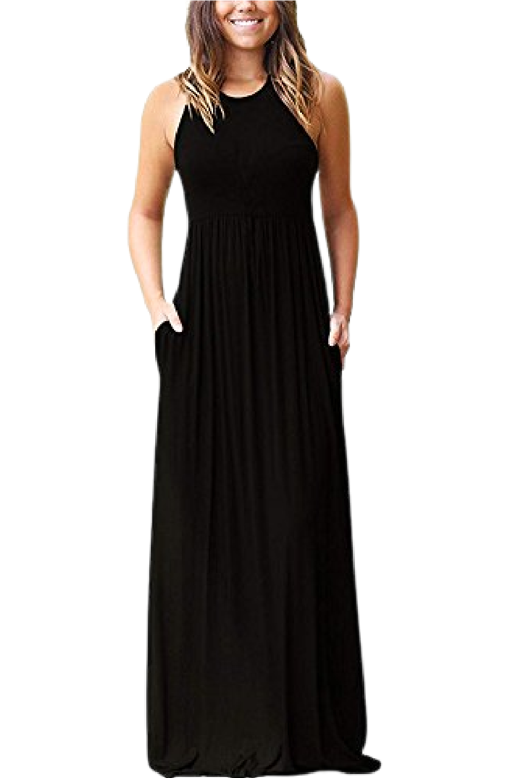 Petunias Black Tee Knit Maxi Dress - Front Cropped Image