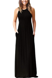 Petunias Black Tee Knit Maxi Dress - Front cropped
