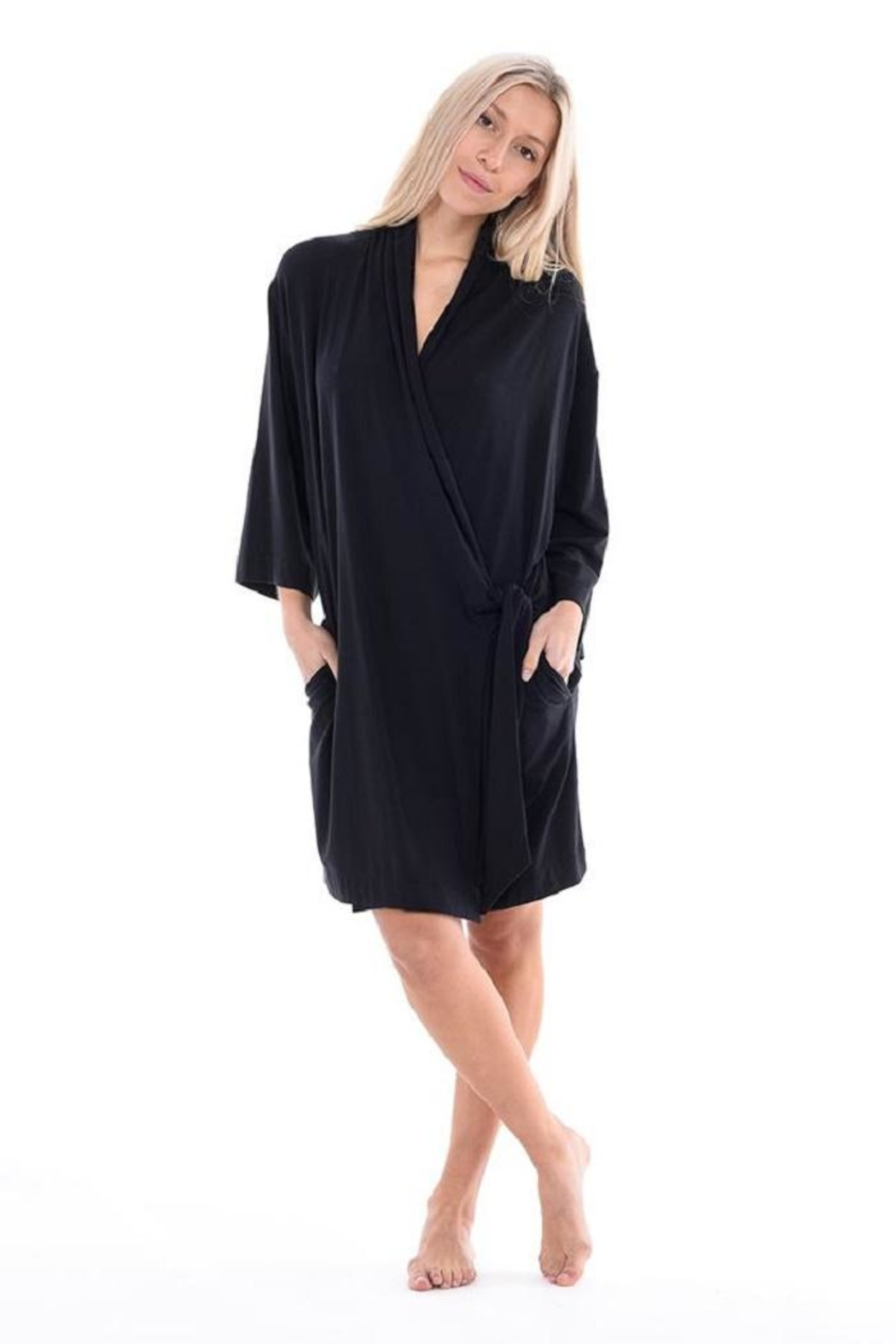 Paper Label Black Tencel Robe - Front Cropped Image