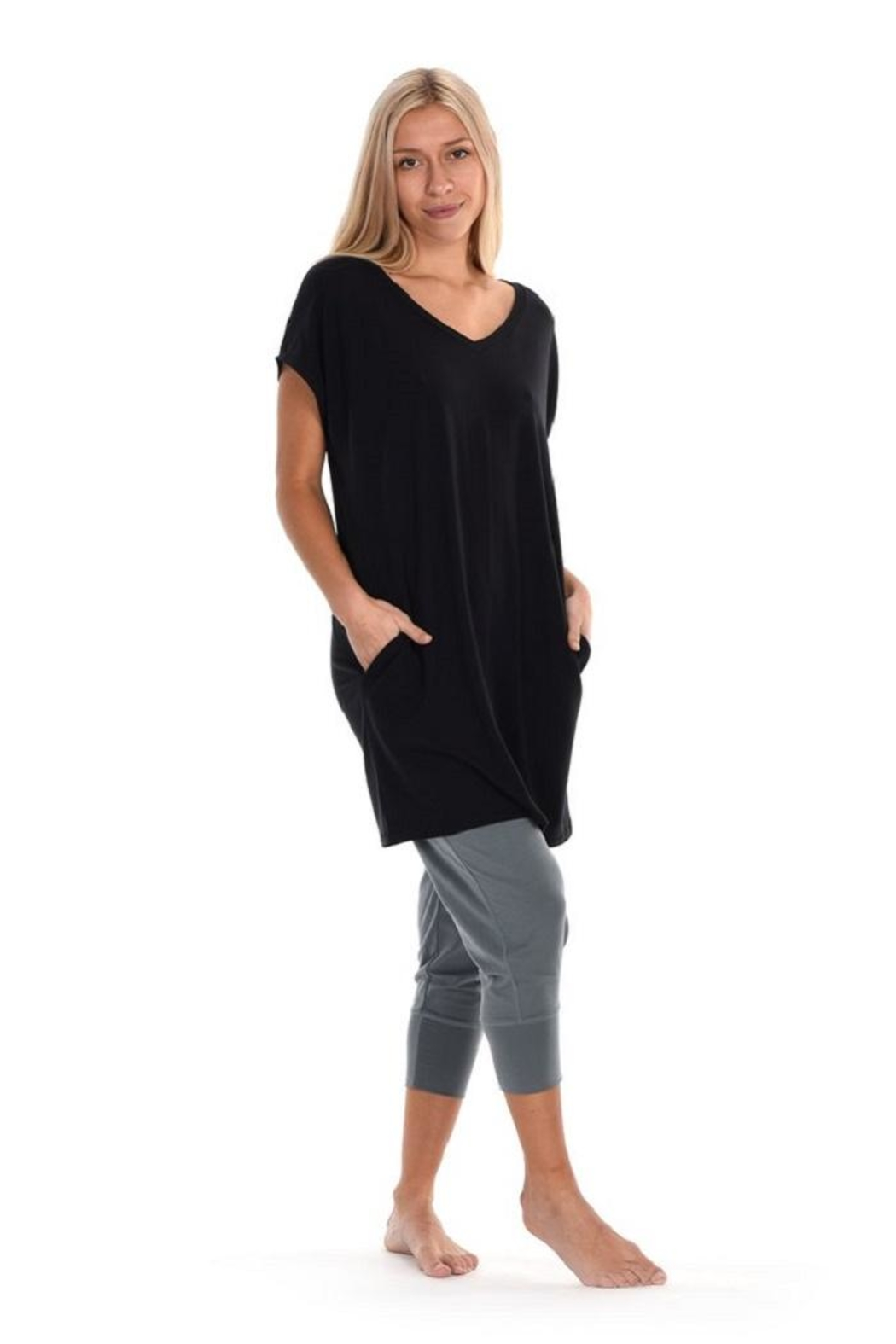 Paper Label Black Tencel Tunic - Front Cropped Image