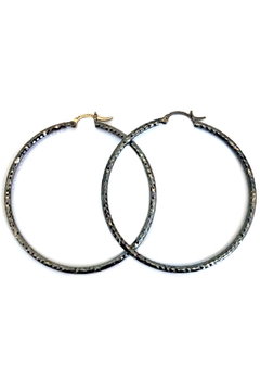 Malia Jewelry Black Textured Hoops - Alternate List Image