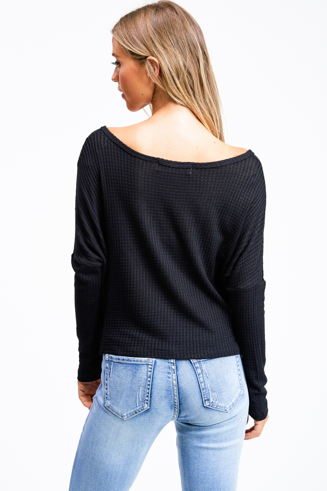 MONTREZ Black thermal crop top - Back Cropped Image
