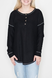 Cherish Black Thermal Henley - Front cropped