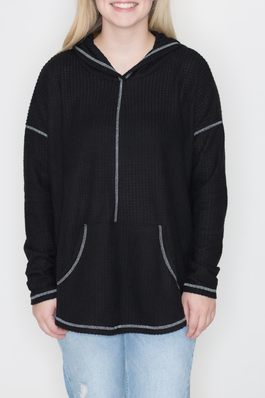 Cherish Black Thermal Hoodie - Main Image