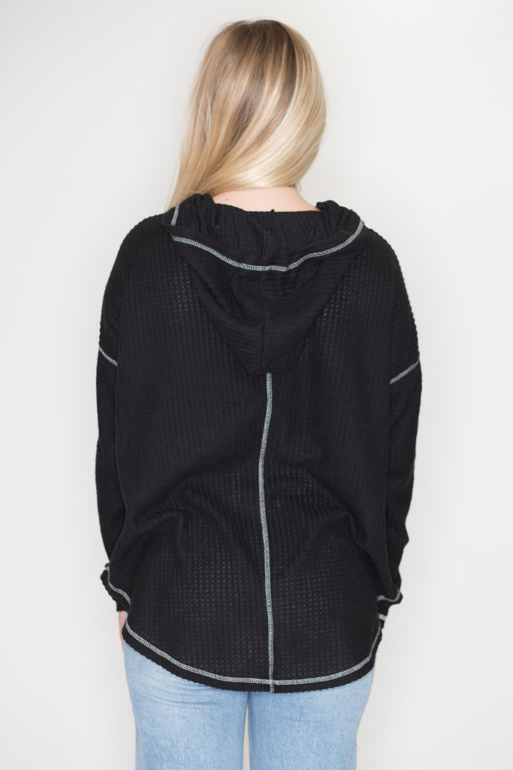 Cherish Black Thermal Hoodie - Side Cropped Image