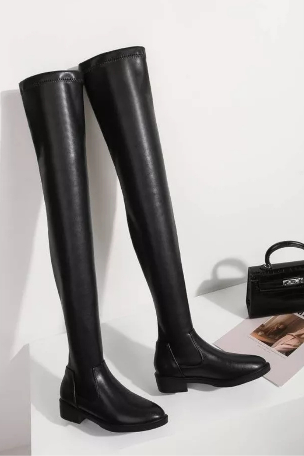 Tiny House of Fashion Black Thigh High Boots - Side Cropped Image