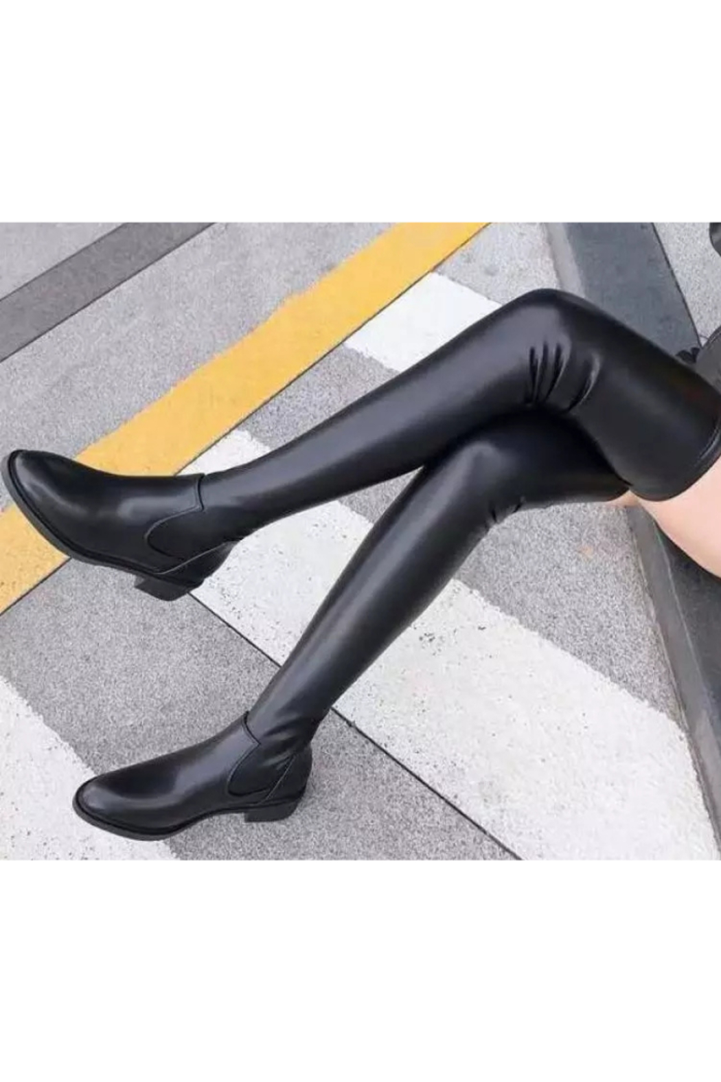 Tiny House of Fashion Black Thigh High Boots - Front Full Image