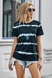 Shewin Black Tie Dye Stripes Basic Tee - Product Mini Image