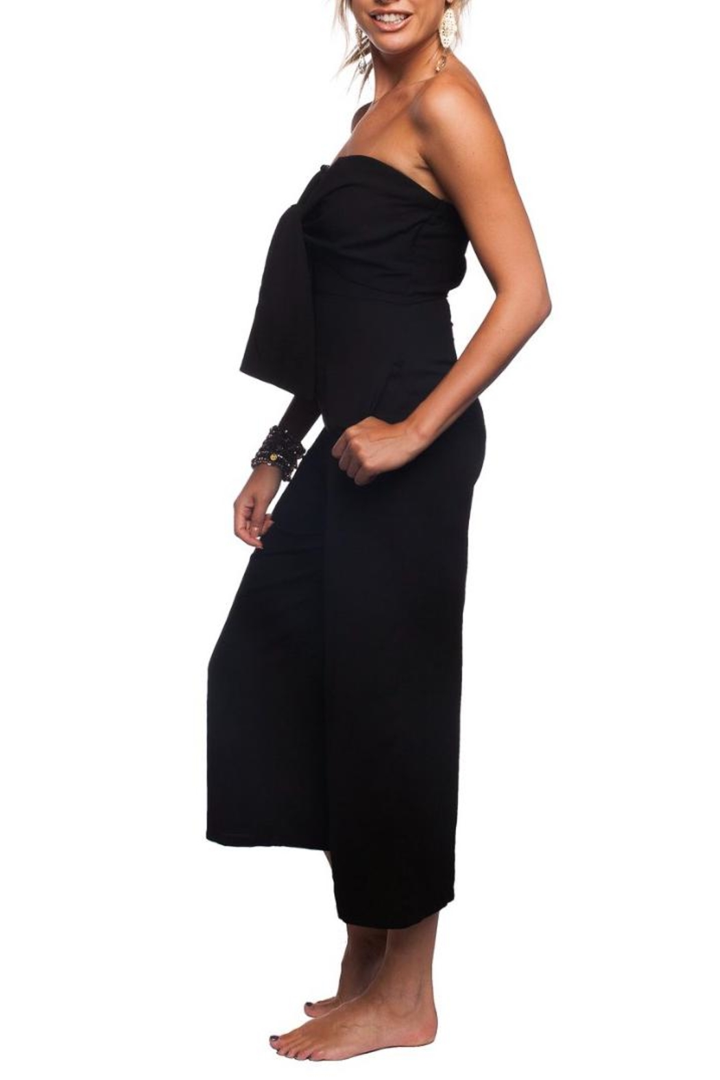 Buddy Love Black Tie-Front Jumpsuit - Front Full Image