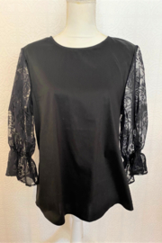 Hayden Los Angeles Black Top/Floral Lace Sleeves - Product Mini Image