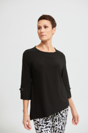 Joseph Ribkoff Black Top with Silver  Grommet Trim on Sleeves - Product Mini Image