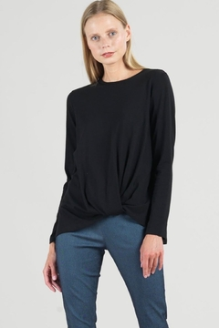 Clara Sunwoo Black top with soft twist hem - Product List Image