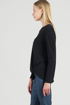 Clara Sunwoo Black top with soft twist hem - Alternate List Image