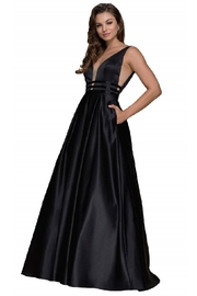NOX A N A B E L Black Triple Waistband Satin Long Formal Dress - Product Mini Image