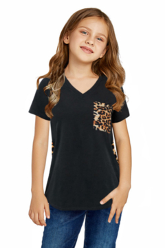 The Emerald Fox Boutique Black V Neck Leopard Splicing Kid Tee - Product List Image