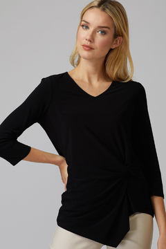 Joseph Ribkoff  Black v-neck top with knot-like detail. - Product List Image