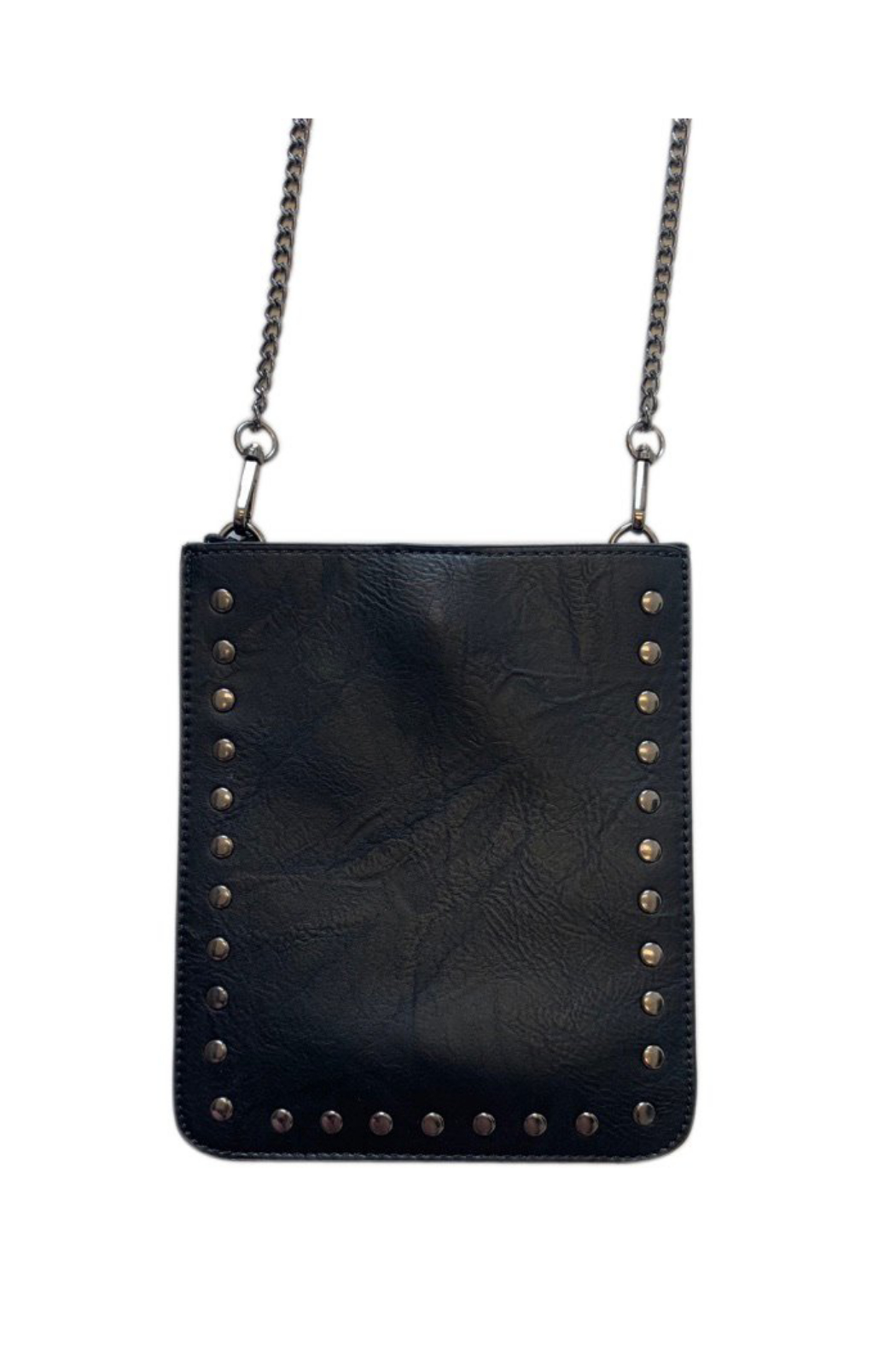 Ah!dorned BLACK VEGAN CROSS BODY W/STUDS & CHAIN - Front Cropped Image