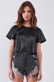 sugar + lips Black Vegan Leather Laser Cut Round Neck Wide Short Sleeve Cropped Top - Product Mini Image
