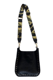 Ah!dorned BLACK VEGAN MESSENGER W/GOLD STUDS & GOLD CAMO 2