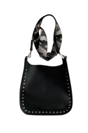 Ah!dorned Black Vegan Messenger With Silver Studs And Silver Camo Strap - Product Mini Image